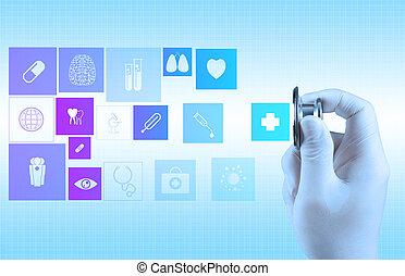 estetoscópio, em, mão, como, médico