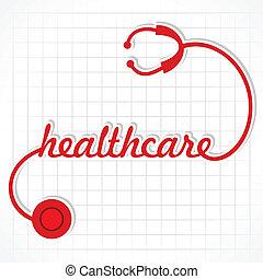 estetoscópio, fazer, palavra, cuidados de saúde