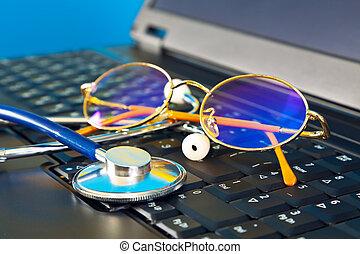 estetoscópio, laptop, pretas, óculos