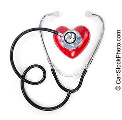 estetoscópio, ligado, coração vermelho