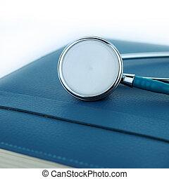 estetoscópio, ligado, um, caderno