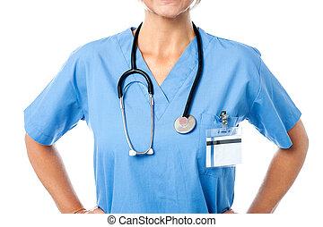 estetoscópio, médico feminino