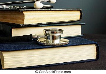 estetoscópio, médico, livros, education., desk.
