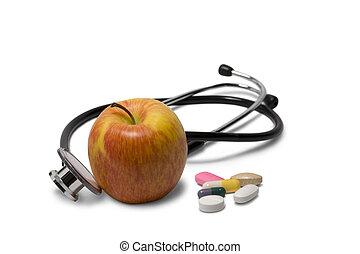 estetoscópio, maçã
