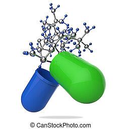 estetoscopio, cápsula, molécula, píldora, mano