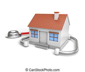 estetoscopio, casa, simple