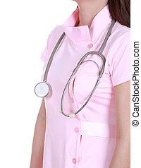 estetoscopio, con, enfermera