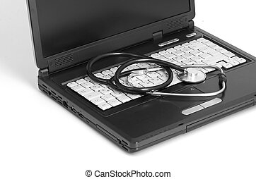 estetoscopio, concepto, computadora, computador portatil