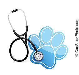estetoscopio, concepto, veterinario