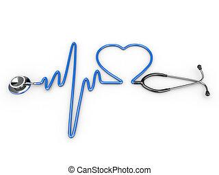 estetoscopio, corazón, ecg, silueta