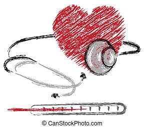 estetoscopio, corazón, termómetro
