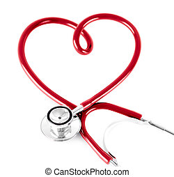 estetoscopio, en forma, de, corazón, aislado, blanco