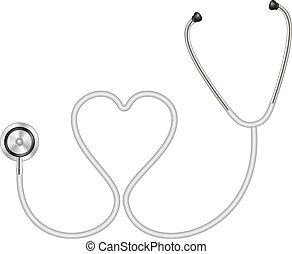 estetoscopio, en forma, de, corazón
