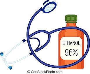 estetoscopio, etanol, botella, icono, plano, estilo