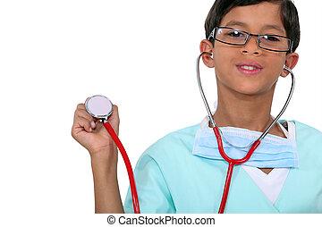 estetoscopio, joven, sostener a niño