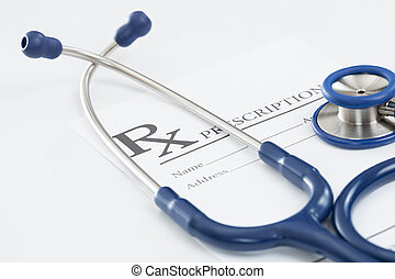 estetoscopio, médico, droga prescripcíon, tabla