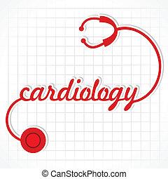 estetoscopio, marca, palabra, cardiología