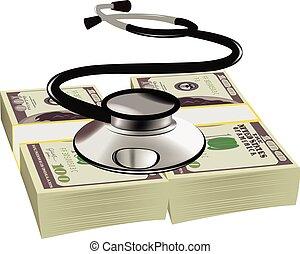 estetoscopio, sano, dólares