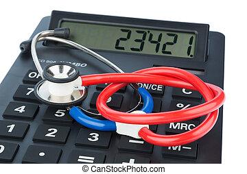 estetoscopio, y, calculadora