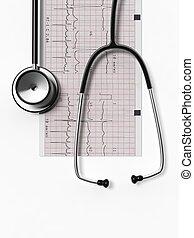 estetoscopio, y, cardiograma, aislado, blanco, plano de fondo