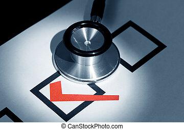 estetoscopio, y, marca de verificación