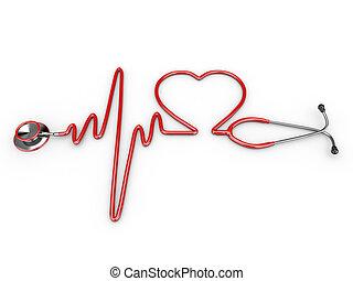 estetoscopio, y, un, silueta, de, el corazón, y, ecg
