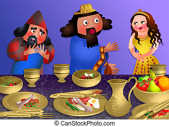 Esthers Banquet - Feast of Purim - A cartoon illustration...