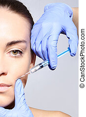 Esthetic Surgery fill wrinkles - Portrait of a white woman...