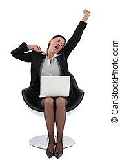 esticar, cadeira, assento mulher