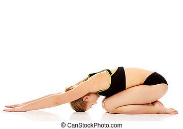 esticar, mulher, jovem, exercício, chão