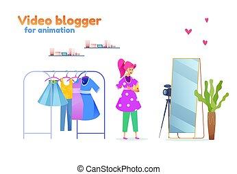 estilista, blogger, moda, vetorial, menina, jovem, equipamento