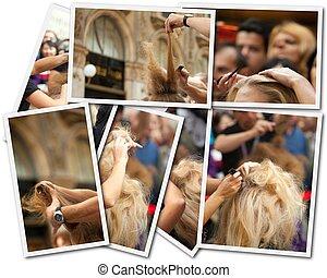 estilista cabelo, foto, colagem