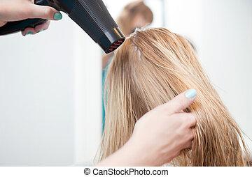 estilista, secar, womans, cabelo