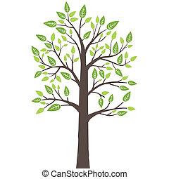 estilizado, árbol, con, fresco, hojas