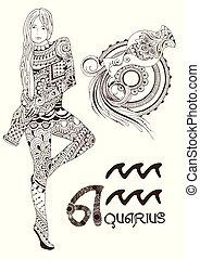 estilizado, acuario, señal, zodíaco