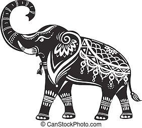 estilizado, adornado, elefante