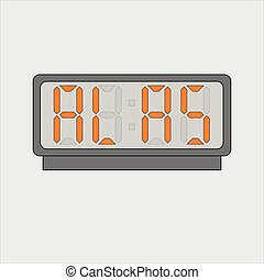 estilizado, alarma, gris, luz, imagen, cartas, digital, electrónico, texto, fondo., imagen, alas, dispositivo, o, vector, naranja, reloj, actuación, palabra