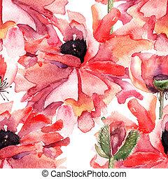 estilizado, amapola, flores, ilustración