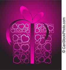 estilizado, amor, presente, caja
