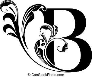 estilizado, b, carta