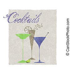 estilizado, cócteles, bebidas, tipografía, retro