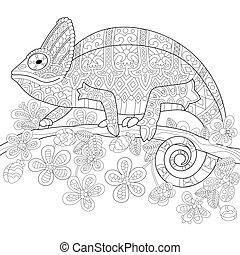 estilizado, camaleón, zentangle, lagarto