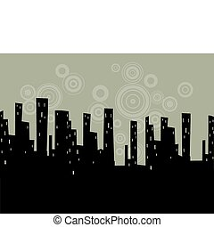 estilizado, cityscape, vector