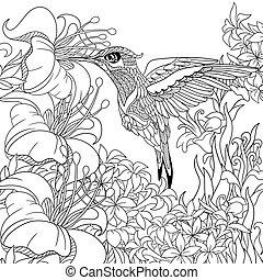 estilizado, colibrí, pájaro