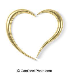 estilizado, corazón, oro