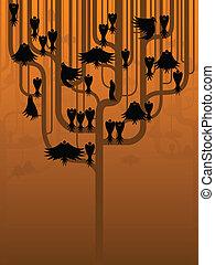 estilizado, cuervos, árbol