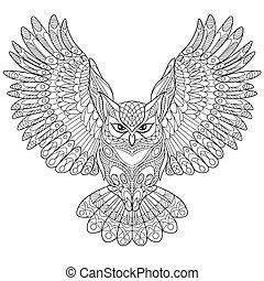 estilizado, dibujado, mano, búho, águila