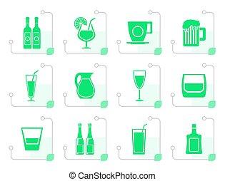 estilizado, diferente, clase, de, bebida, iconos