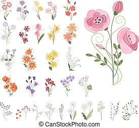estilizado, diferente, flores, colección
