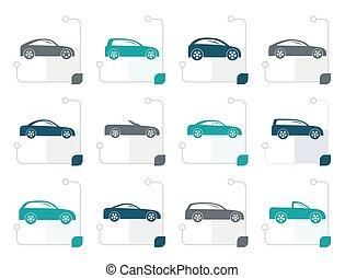 estilizado, diferente, tipos, de, coches, iconos
